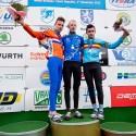 """Na bedně"" - zleva druhý Mathieu Van der Poel, vítěz Michael Vanthorenhout a třetí Gianni Vermeersch, ME v cyklokrosu 2013 (her)"
