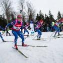 Start finále supersprintu žen, biatlonová exhibice 2015