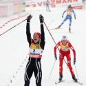 Justyna Kowalczyk vítězí v ženském skiatlonu