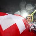 Světový šampion na velkém můstku Andreas Kuettel (SUI) bezprostředně po vyhraném závodě