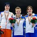 Stupně vítězů čtyřboje žen na ME v short tracku. Zleva Ter Mors (NED), Arianna Fontana a Martina Valcepina (obě ITA). (can)